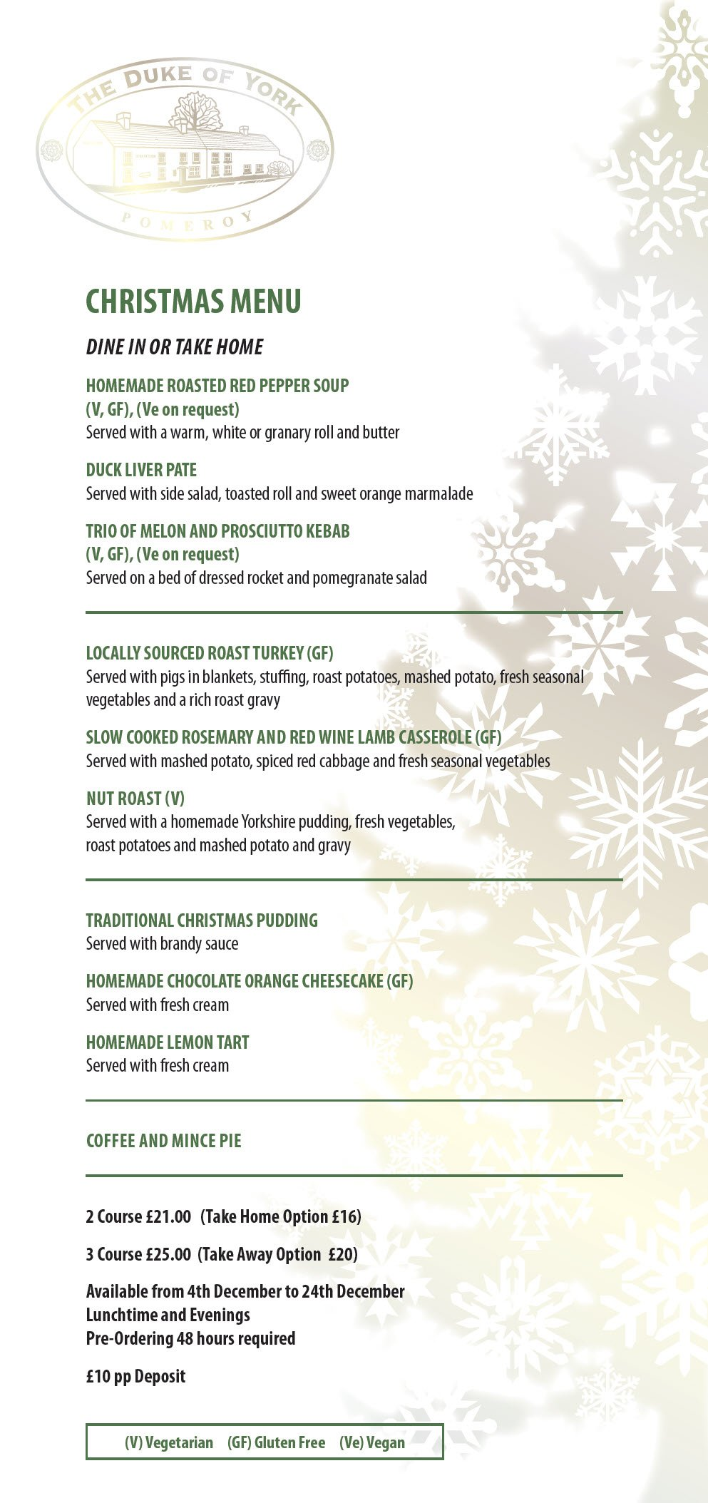 DOY Christmas Menu