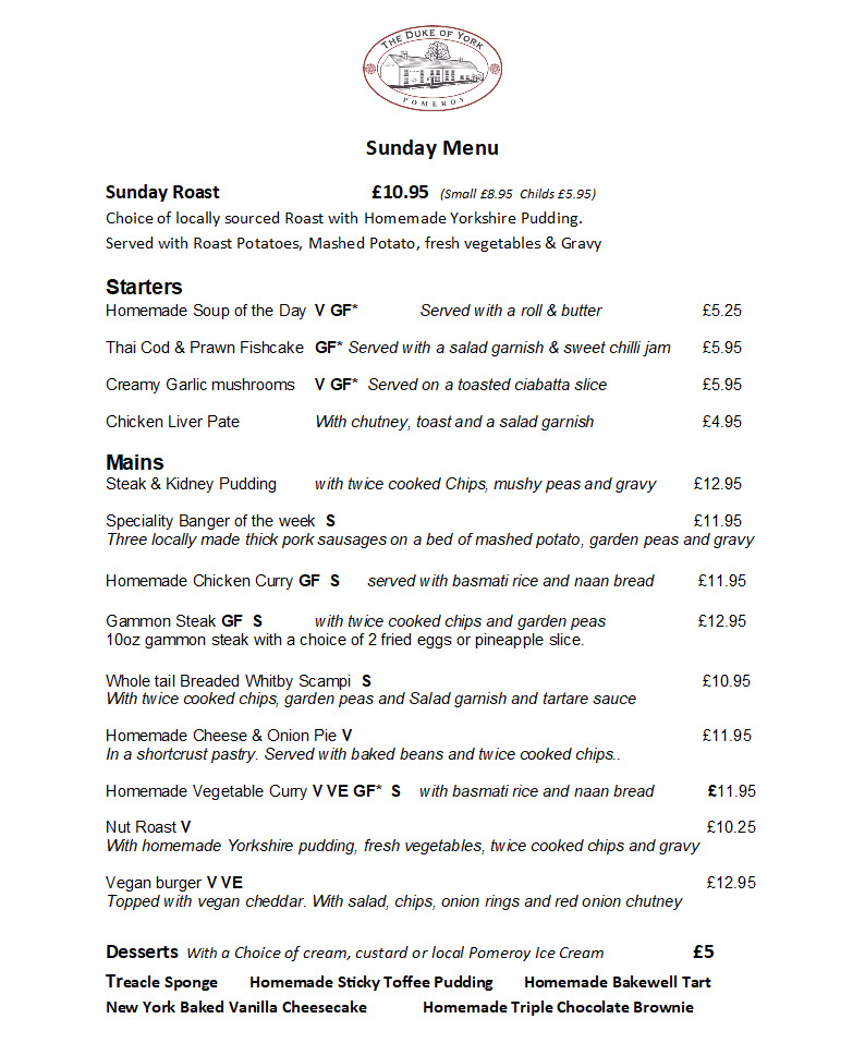 Duke of York, Pomeroy - Sunday Menu July 2020