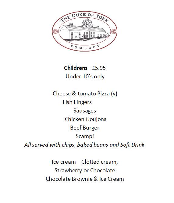 Duke of York Children's menu