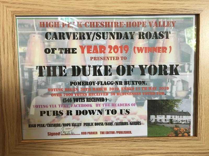 High Peak Carvery/Sunday roast of the year 2019