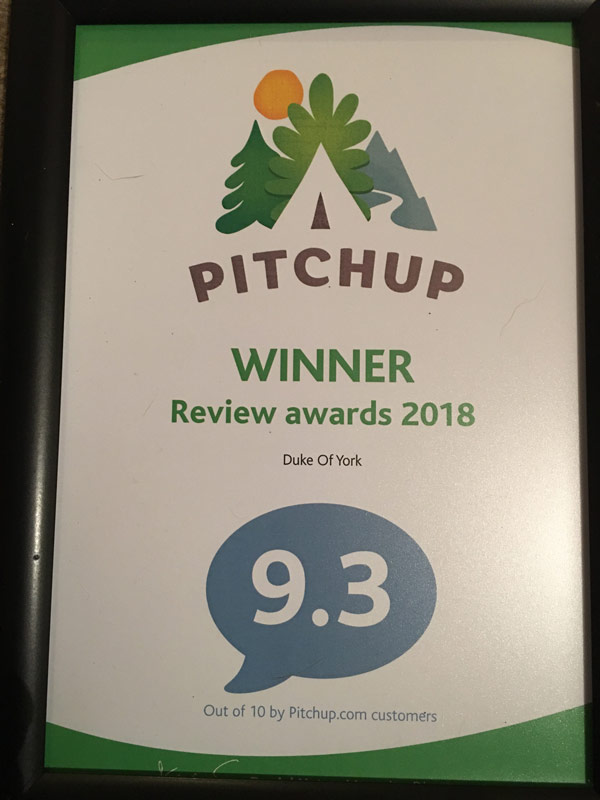 Pitchup review awards 2018 certificate