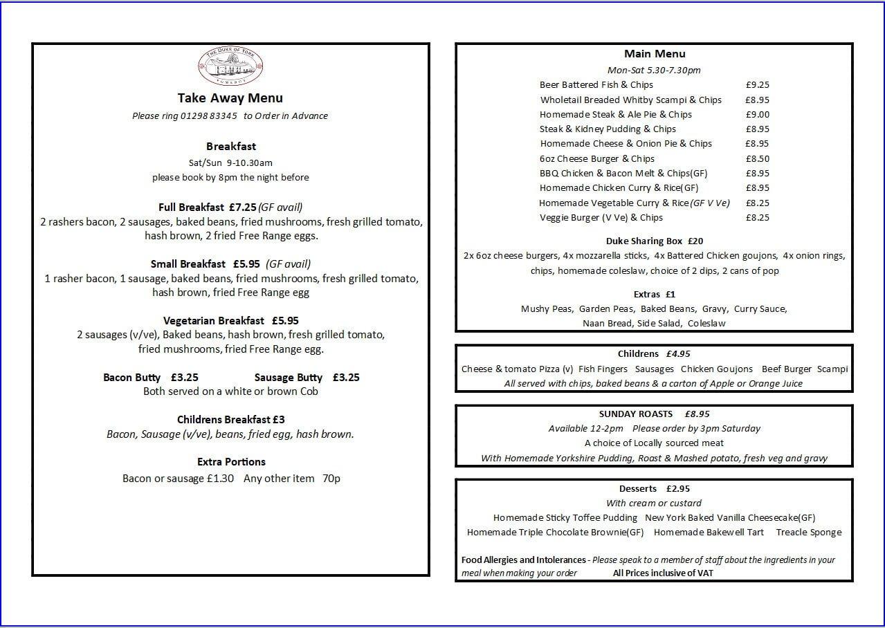 take-away menu April 2021