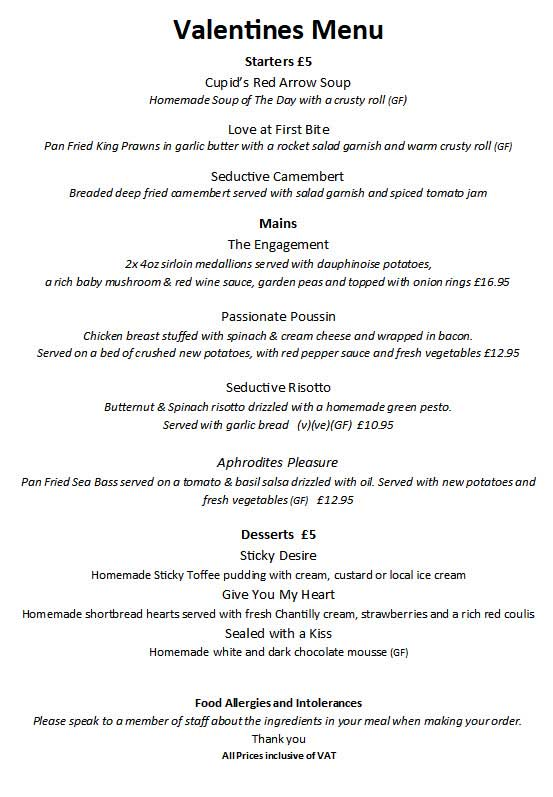 Duke of York Valentines Menu